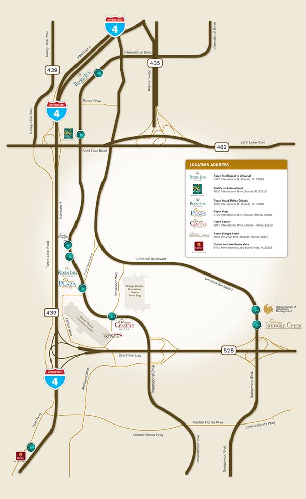 Rosen Hotels Map