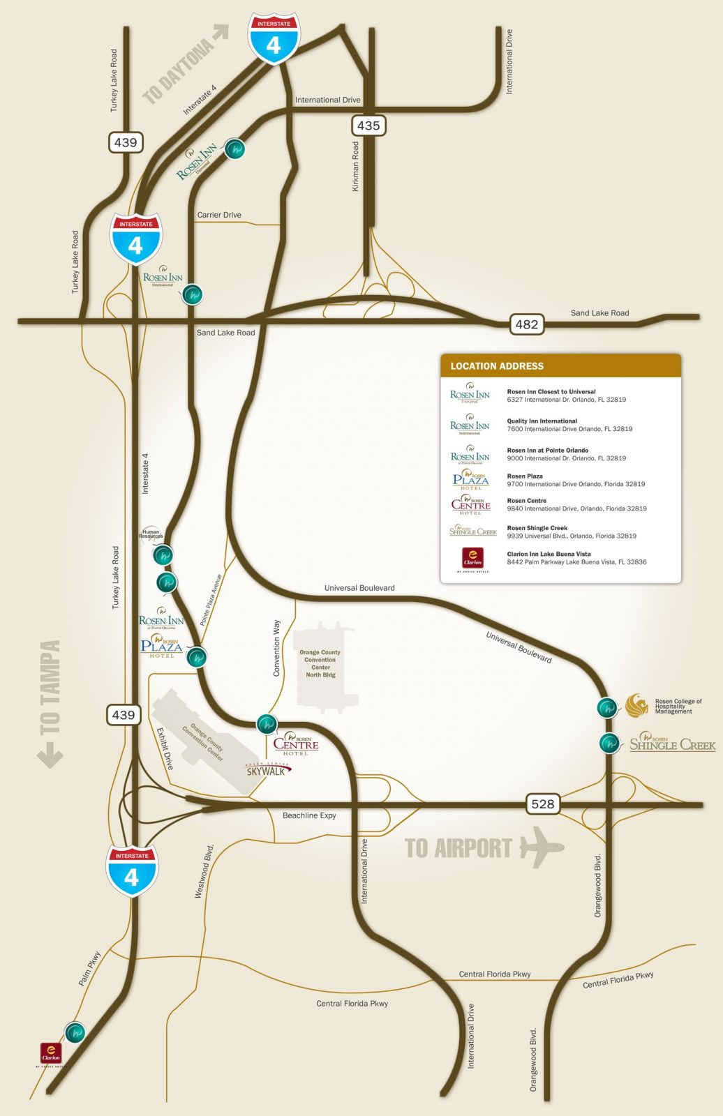 Rosen Hotels Location Map