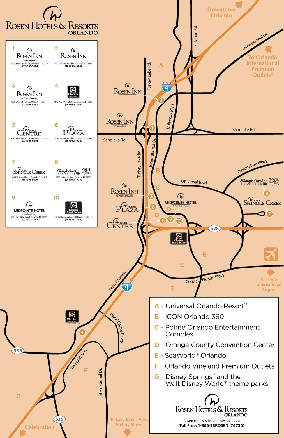 Rosen Hotels Resorts Location Map